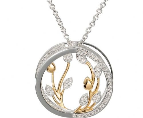 Sterling Silver Round Two Tone  Yellow Gilt Necklace